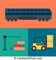 logistique, ensemble, transport, icône