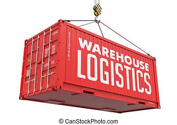 logistique, entrepôt, container., métal, rouges