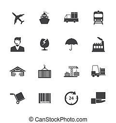 logistique, eps10, icônes, vecteur, noir, blanc