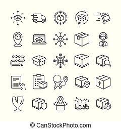 logistique, expédition, delivery., vecteur, camion, icons.