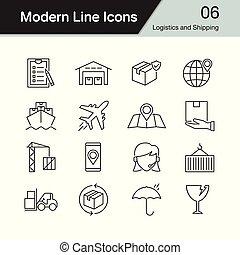 logistique, expédition, ensemble, moderne, 6., conception, icons., ligne