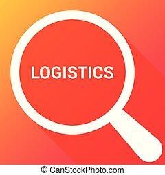 logistique, finance, verre, optique, mots, magnifier, concept: