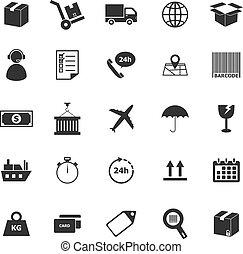 logistique, fond blanc, icônes