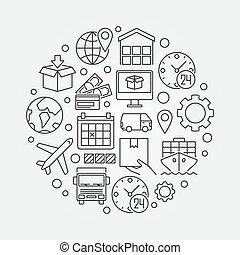logistique, global, illustration, circulaire