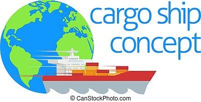 logistique, globe, récipient cargaison, bateau, concept