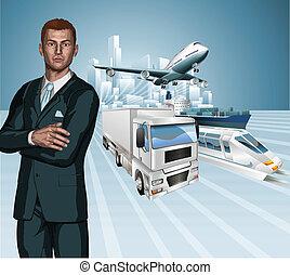 logistique, homme affaires, concept, dos