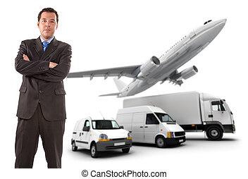 logistique, homme affaires, transport