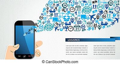 logistique, humain, icônes, mobile, expédition, main, splash.