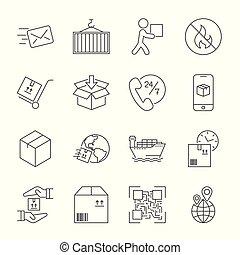 logistique, icônes, editable, expédition, arrière-plan., coup, blanc