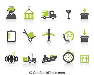 logistique, icônes, simple, série, expédition, vert