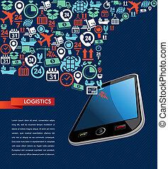 logistique, illustration., icônes, mobile, texte, app, expédition, éclaboussure