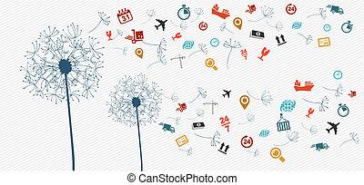 logistique, illustration., icônes, résumé, pissenlit, expédition