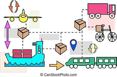 logistique, illustration, transport, mouvements