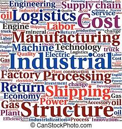 logistique, industriel, mot, texte, tagcloud, conceptuel, ou, nuage