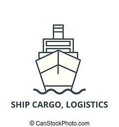 logistique, linéaire, cargaison, concept, symbole, signe, vecteur, icône, bateau, ligne, contour