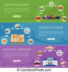 logistique, livraison, bannières, stockage