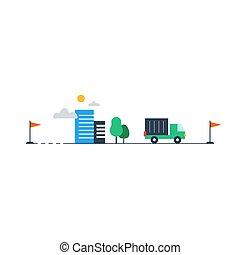 logistique, livraison, compagnie, camion