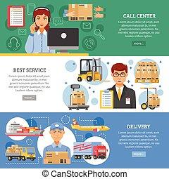logistique, livraison, ensemble, bannière