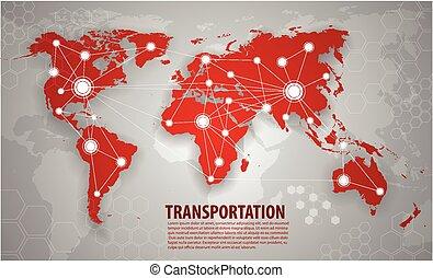 logistique, mondiale, transport