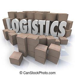 logistique, mot, expédition, boîtes, entrepôt, efficacité