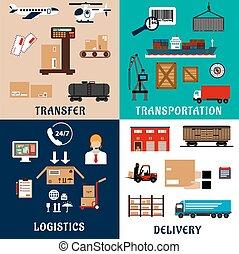 logistique, plat, transport, fret, icônes