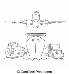 logistique, récipient, avion, train, illustration, signe,...