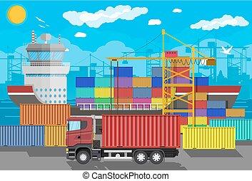 logistique, récipient cargaison, bateau, grue, truck., port