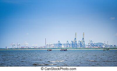 logistique, récipient cargaison, business, port, expédition, exportation, importation, grue, bateau