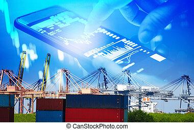 logistique, récipient cargaison, business, port, industrie, expédition, eau, exportation, importation, grue, bateau, transport