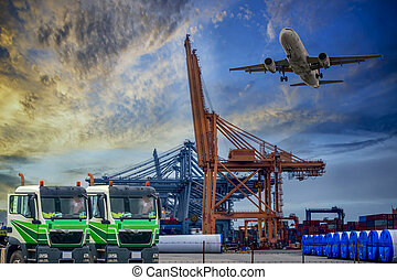 logistique, récipient cargaison, fonctionnement, pont, sunrise., chantier naval, avion, transport, bateau, grue