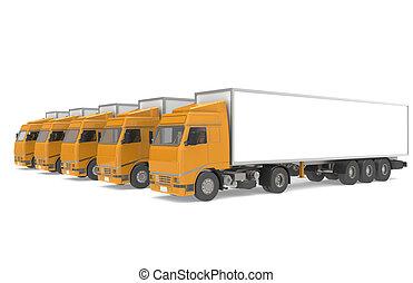 logistique, série, partie, trucks., entrepôt, flotte