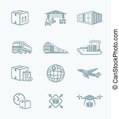 logistique, série, ||, technologie, icônes