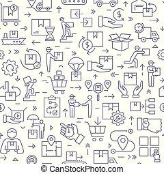 logistique, seamless, delivery., motifs, thème, noir, blanc