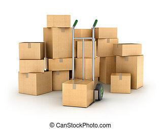 logistique, series., boxes., main, partie, tas, entrepôt, camion, carton