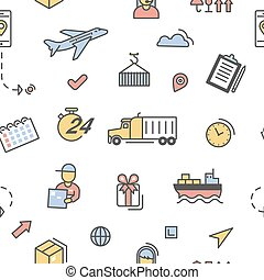 logistique, service, pattern., seamless, expédition, livraison, vecteur, fond, lineart