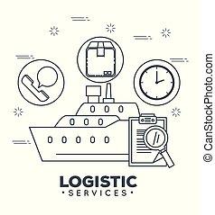 logistique, services, à, bateau, cargaison