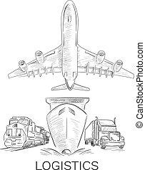 logistique, signe, à, avion, camion, navire porte-conteneurs, et, train, sketchy