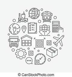 logistique, symbole, global, circulaire