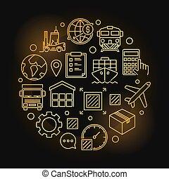 logistique, symbole, global