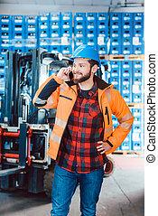 logistique, téléphone, entrepôt, ouvrier