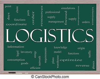 logistique, tableau noir, concept