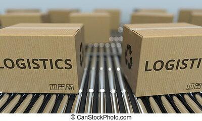 logistique, texte, conveyor., mouvement, rendre, boîtes, carton, rouleau, 3d