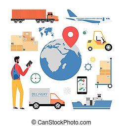 logistique, thème, icônes, services., cargaison, ensemble, vecteur, livraison