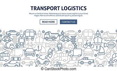 logistique, transport, bannière, conception