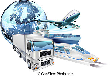logistique, transport, globe, concept