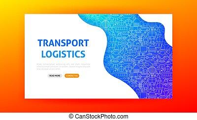 logistique, transport, page, atterrissage