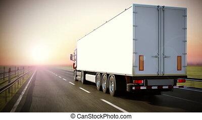 logistique, trucking., -, dos, vue.
