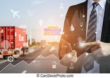 logistique, usage, concept affaires, global, téléphone, connexion, exportation, logistique, associé, interface, importation, homme, technologie, intelligent, transportation.