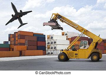 logistisch, industriebereiche, hafen, mit, stapel, o