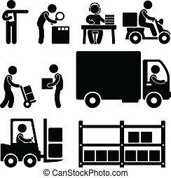 logistisk, lager, leverans, ikon